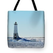 Lighthouse And Winter Tote Bag