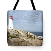 Lighthouse At Peggys Point Nova Scotia Tote Bag