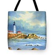 Lighthouse At Portland Head Maine Tote Bag