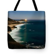 Lighthouse At The Coast, Moonlight Tote Bag