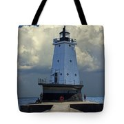 Lighthouse At The End Of The Pier In Ludington Michigan Tote Bag