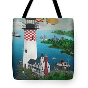 Lighthouse Fishing Tote Bag