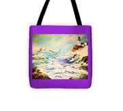 Lighthouse Gulls And Waves Tote Bag