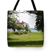 Lighthouse Hidden Behind Trees Tote Bag