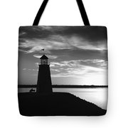 Lighthouse In Black And White Tote Bag