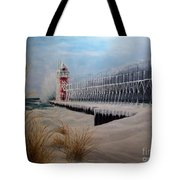 South Haven Mi Lighthouse In Four Seasons-winter Tote Bag