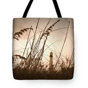 Lighthouse In The Distance Inn Sepia Tote Bag by Laurie Perry