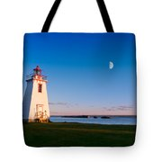 Lighthouse In The Light From Moon And Sun Tote Bag