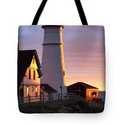 Lighthouse In The Morning Tote Bag