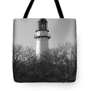 Lighthouse In Trees Tote Bag