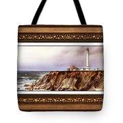 Lighthouse In Vintage Frame Tote Bag