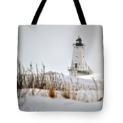 Lighthouse In Winter Tote Bag