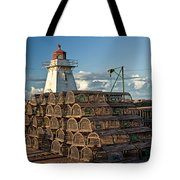 Lighthouse On A Channel By Cascumpec Bay On Prince Edward Island No. 094 Tote Bag
