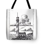 Lighthouse On A Cliff Pointillist Tote Bag