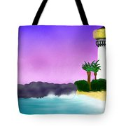 Lighthouse On Beach Tote Bag