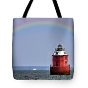 Lighthouse On The Bay Tote Bag