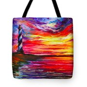 Lighthouse - Palette Knife Oil Painting On Canvas By Leonid Afremov Tote Bag