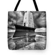 Lighthouse Reflection Black And White Tote Bag