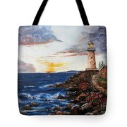Lighthouse Road At Sunset Tote Bag