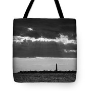 Lighthouse Sun Rays Bw Tote Bag