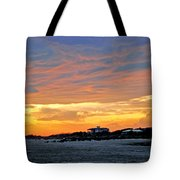 Lighthouse Sunset By Jan Marvin Tote Bag