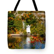 Lighthouse Through The Leaves Tote Bag