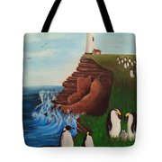 Lighthouse With Penguins Tote Bag