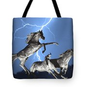 Lightning At Horse World Bw Color Print Tote Bag