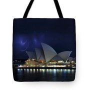 Lightning Behind The Opera House Tote Bag by Kaye Menner