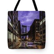 Lightning Over Manhattan Bridge Tote Bag