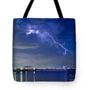 Lightning Over Safety Harbor Pier Tote Bag