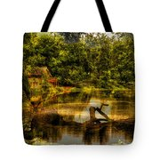 Lightning Strike By The Nature Center Merged Image Tote Bag