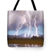 Lightning Striking Longs Peak Foothills 4c Tote Bag