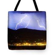 Lightning Striking Over Ibm Boulder Co 3 Tote Bag
