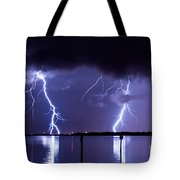 Lightning Over Tampa Causeway Tote Bag