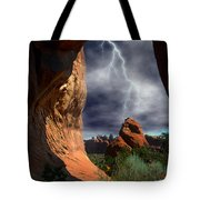 Lightning Through Arch Tote Bag