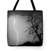 Lightning Tree Silhouette Black And White Tote Bag