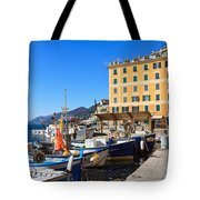 Liguria - Harbor In Camogli Tote Bag