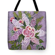 Lilac And Rose Bouquet Tote Bag