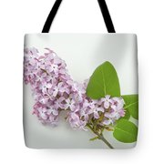 Lilac Flowers - White Background Tote Bag
