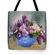 Lilac In Blue Vase Tote Bag