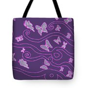 Lilac Silhouette Of Woman With Butterflies Tote Bag