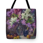 Lilacs And Blue Vase Tote Bag