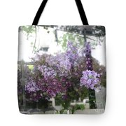 Lilacs Hanging Basket Window Reflection - Dreamy Lilacs Floral Art Tote Bag