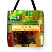 Lili And Oli Latte Espresso Cappucino Coffee Shop Rue Notre Dame St Henri City Scene Carole Spandau Tote Bag