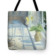 Lilies And A Straw Hat Tote Bag