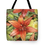 Lilies And Daisies Tote Bag