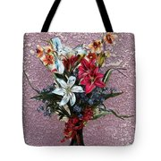 Lilies And Orchids Digitized Purple Tote Bag