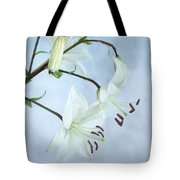 Lilies On Blue Tote Bag