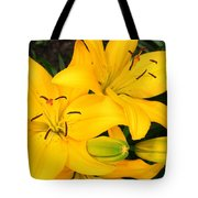 Lillies In Yellow Tote Bag